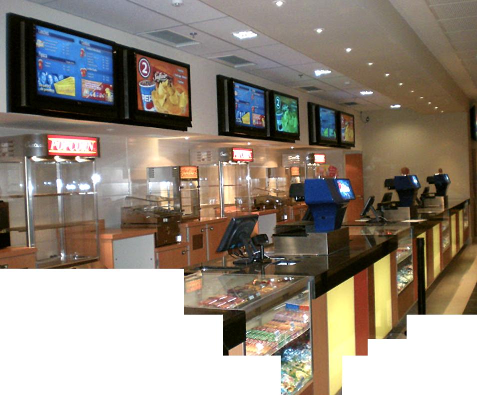 Menuboard digitais em espaços de lazer e alimentação
